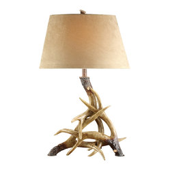 Crestview - Antler Table Lamp - If you're searching for that perfect lamp to finish your nature — or lodge-inspired room, the hunt is over. The resin-made base is finished to look like natural, interlocking antlers and topped with a faux, suede oval shade.