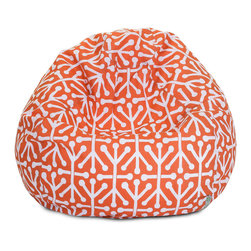 Majestic Home - Outdoor Orange Aruba Small Bean Bag - A great addition to any family room, playroom or outdoor seating arrangement, the Majestic Home Goods Small Bean Bag allows your child to read or watch a favorite show in the utmost comfort. Generously filled with eco-friendly polystyrene beads, this chair easily forms to your child's body for an ergonomic lounging experience. This bean bag has an outdoor treated polyester slipcover, with up to 1000 hours of U.V. protection that zips off for easy cleaning.