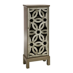 IMAX Worldwide Home - Lorella Mirrored Front Cabinet - Material: 90% MDF, 10% Mirror. 39.25 in. H x 15.75 in. W x 8 in. D. Weight: 3.1 lbs.Inspired by the New York Central Park bridge, the elegant antiqued mirror is crafted in a continuous elliptical pattern and the open face is reminiscent of art deco styling.
