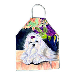 Caroline's Treasures - Maltese Apron - Apron, Bib Style, 27 in H x 31 in W; 100 percent  Ultra Spun Poly, White, braided nylon tie straps, sewn cloth neckband. These bib style aprons are not just for cooking - they are also great for cleaning, gardening, art projects, and other activities, too!