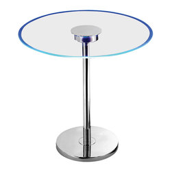 Kenroy Home - Kenroy 32176GCH Spectral LED Table - 'On the edge' design at its best...  An exciting and distinct placement of LED light outlines the circumference of this clear glass end table. Spectral has a modern stance and the futuristic glow of colored LED light that transitions slowly through the spectrums colors.
