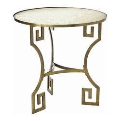 Arteriors - Arteriors 6334 Dunmoore Greek Key Brass/Mirror Side Table - Arteriors 6334 Dunmoore Greek Key Brass/Mirror Side Table