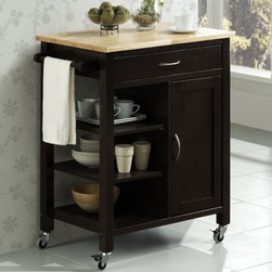 "4D Concepts - Edmonton Kitchen Cart - This elegant mobile cart instantly expands the work and serving surface area in your home. The casters can be locked making it easier to work and serve off the cart. The large drawer can be used to store your kitchen utensils and cooking items. The richly framed door, with a sleek silver handle, opens up to 1 fixed shelf that can be used to store pans, dishes or other kitchen items. Every home can use this elegant cart to increase functionality in the kitchen. Features: -One door with fixed shelf.-Industrial grade locking casters.-Towel rack.-Black finish.-Product Type: Kitchen cart.-Base Finish: Black.-Counter Finish: Natural.-Distressed: No.-Powder Coated Finish: No.-Gloss Finish: Yes.-Base Material: Wood.-Counter Material: Wood.-Number of Items Included: 1.-Exterior Shelves: Yes -Number of Exterior Shelves: 3..-Drawers Included: Yes -Number of Drawers: 1.-Push Through Drawer: No.-Drawer Dividers: No.-Drawer Handle Design: Handles.-Silverware Tray : No..-Cabinets Included: Yes -Number of Cabinets : 1.-Double Sided Cabinet: No.-Number of Interior Shelves: 2.-Adjustable Interior Shelves: No.-Number of Doors: 1.-Magnetic Door Catches: No.-Locking Doors: No.-Door Handle Design: Handles..-Towel Rack: Yes -Removable Towel Rack: Yes..-Cutting Board: No.-Drop Leaf: No.-Drain Groove: No.-Trash Bin Compartment: No.-Stools Included: No.-Casters: Yes -Locking Casters: Yes.-Removable Casters: Yes..-Wine Rack: No.-Stemware Rack: No.-Cart Handles: Yes.-Recycled Content: No.Dimensions: -Overall Height - Top to Bottom: 35.3125"".-Overall Width - Side to Side: 30.25"".-Overall Depth - Front to Back: 19"".-Width Without Side Attachments: 27.75"".-Height Without Casters: 31.8125"".-Countertop Thickness: 0.75"".-Countertop Width - Side to Side: 27.75"".-Countertop Depth - Front to Back: 19"".-Shelving: -Shelf Height - Top to Bottom (Shortest Shelf) : 7"".-Shelf Height - Top to Bottom (Tallest Shelf) : 11.5"".-Shelf Width - Side to Side (Shortest Shelf) : 11.5"".-Shelf Width - Side to Side (Tallest Shelf ) : 11.5"".-Shelf Depth - Front to Back (Shortest Shelf) : 15.375"".-Shelf Depth - Front to Back (Tallest Shelf ) : 15.375""..-Drawer: -Drawer Interior Height - Top to Bottom: 2.375"".-Drawer Interior Width - Side to Side: 22.875"".-Drawer Interior Depth - Front to Back: 12.5""..-Cabinet: -Cabinet Interior Height - Top to Bottom: 22.875"".-Cabinet Interior Width - Side to Side: 11.25"".-Cabinet Interior Depth - Front to Back: 16.75""..-Overall Product Weight: 63 lbs.Assembly: -Assembly Required: Yes.-Additional Parts Required: No."