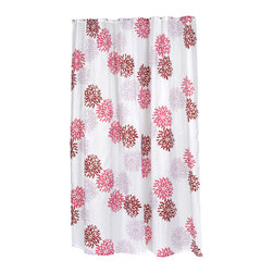 "Extra Long ""Emma"" Fabric Shower Curtain - ""Emma"" extra long 100% polyester fabric shower curtain, size 70"" wide x 84"" long. With its bold, floral pattern, our Extra Long ""Emma"" will give your bathroom a welcome boost of vitality.  Specially designed to fit where a standard size curtain is too short (curtain measures 70'' wide x 84'' long), ""Emma"" is 100% polyester, machine washable, and water resistant. For those with varying size needs, ""Emma"" is available in standard. Also available separately is the coordinating ""Emma"" window curtain.   Machine wash in warm water, tumble dry, low, light iron as needed"