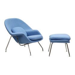 East End Imports - Eero Saarinen Style Womb Lounge Chair and Ottoman in Baby Blue - Concerted efforts run deep with this finely upholstered wool Euro Saarinen Style Lounge Chair and Ottoman Set. Immerse yourself in the compassionate and sprawling form while supported by a sleek stainless steel base. Scales of equilibrium are reached in good measure as you inaugurate elegance into your contemporary abode.