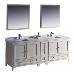 "Fresca - Oxford 84"" White Double Sink Vanity w/ Side Cascata Chrome Faucet - Blending clean lines with classic wood, the Fresca Oxford Traditional Bathroom Vanity is a must-have for modern and traditional bathrooms alike.  The vanity frame itself features solid wood in a stunning antique white finish that?s sure to stand out in any bathroom and match all interiors.   Available in many different finishes and configurations."