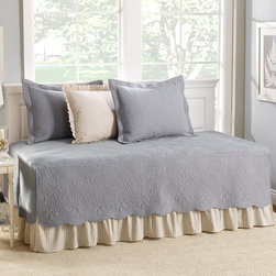 Cottage - Stone Cottage Trellis Gray 5-Piece Daybed Cover Set - Twin Multicolor - 202893 - Shop for Bedding Sets from Hayneedle.com! A beautiful addition to a guest or child's room the Stone Cottage Trellis Gray 5-Piece Daybed Cover Set - Twin radiates a feeling of comfort without sacrificing style. Its traditional design features a floral quilted pattern and softly scalloped edges in a subtle gray hue. This set comes with everything you'll need to make your twin daybed a lovely focal point in your room including a bedskirt three standard shams (two in quilted gray one in striped khaki with ruffled trim) and a cover with stitched corners for a bed that is always made to perfection.Dimensions:Quilt: 39W x 75L inchesBed skirt: 39L x 75W x 15H inchesSham: 20W x 26L inches