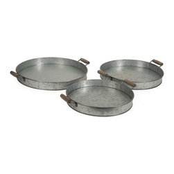"""IMAX CORPORATION - Galvanized Round Trays - Set of 3 - Galvanized trays make great table accessories. Stack them for a decorative look, use them to hold magazines or use them to serve breakfast in bed - any way you choose you will love them!. Set of 3 trays in varying sizes measuring approximately 1.97""""H x 14.57-17.32""""W x 14.57-17.32"""" each. Shop home furnishings, decor, and accessories from Posh Urban Furnishings. Beautiful, stylish furniture and decor that will brighten your home instantly. Shop modern, traditional, vintage, and world designs."""