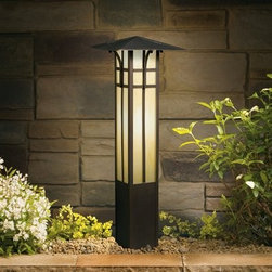 "Kichler Lighting 15458OZ Mission Bollard Pathway Light, Olde Bronze® - Get 10% discount on your first order. Coupon code: ""houzz"". Order today."