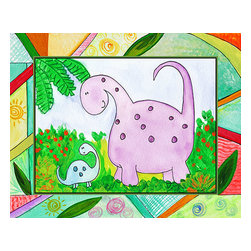 Oh How Cute Kids by Serena Bowman - Baby Dino Mytes - Ben and June, Ready To Hang Canvas Kid's Wall Decor, 24 X 30 - This silly, sweet picture is part of my Baby Dino Mytes dinosaurs series.