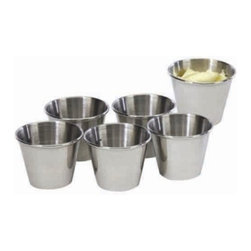 Cookpro - Stainless Steel 2.5-ounce Sauce Cup, Set of 6 - You want that on the side, hon? Get your diner up with this set of six stainless steel cups perfect for dressing, gravy, chimichurri, salsa, ketchup, sour cream, or much, much more. Each cup holds about 2.5 ounces and is made in highly polished stainless steel