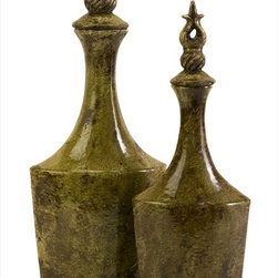 "Imax Worldwide Home - Feleti Ceramic Vase with Stopper - Set of 2 - The Eastern influence is evident in the form of the Feleti Ceramic Vases. Each vase is topped by a decorative stopper and finished in a rustic green/brown glaze.; Country of Origin: China; Weight: 5.61 lbs; Dimensions: 15.5-18.5'h x 7.5-9""w x 4.5-5.25""d"