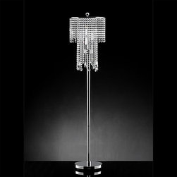 Warehouse of Tiffany - Crystal Floor Lamp - Includes three 40 watt E14 type bulbs. Clear crystals. Made from chrome and metal. Assembly required. 15 in. Dia. x 63 in. H (20 lbs.)This Diana Crystal Floor Lamp creates a glamorous sparkling home accent that complements your modern look.