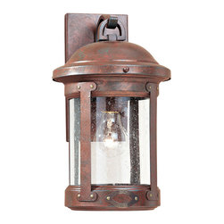 Sea Gull Lighting - Sea Gull Lighting 8440-44 H.S.S. Co-Op Copper Outdoor Wall Sconce - The Sea Gull 8440-44 H.S.S. Co-Op Outdoor Wall Lantern is solid brass finished in Weathered Copper with Clear Seeded glass.