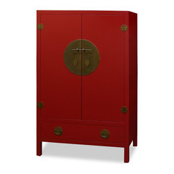 "China Furniture and Arts - Elmwood Ming Style TV Armoire - Red, the color of happiness, luck and prosperity in the Chinese culture, is the overall tone of this cabinet. Built in the Ming Dynasty (1368-1644) furniture style, the inside of this cabinet is altered specifically for the storage of contemporary mixed media. Large enough to contain most family size television with the dimensions of 36""Wx18""Dx37""H, the armoire has an outlet in the back for wires to go through. Two removable shelves and a stand (6""H) inside for your storage convenience. Two large drawers below provide additional storage space. The polished cast-brass pull and decorative hinges are symmetrically fitted reflecting the Chinese ideal of unity. Completely hand made of Elmwood for long lasting durability. (Top shelf is 10-3/4""H, lower shelf is 12""H each)."