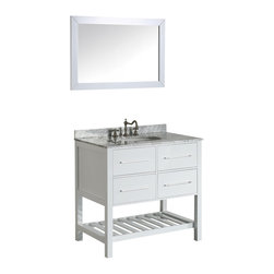 "Bosconi - 36"" Bosconi SB-250-3WH Vanity Set - This crisp, glossy white Bosconi vanity will be a lovely comtemporary addition to any stylish bathroom interior. Two drawers that are located above the lower towel rack are soft closing and provide ample storage space, while the stunning White Cararra Marble top adds interest and sophistication to the piece. The mirror which completes the set is a perfect match and will add a polished style to any bathroom decor."