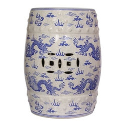 Blue and White Porcelain Garden Stool, Blue and White Dragon Design - This blue and white stool has a wonderful dragon motif. It just might be my favorite!