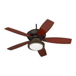 """Casa Vieja - Contemporary 60"""" Casa Belle Grove Teak - Bronze Outdoor Ceiling Fan - This oil-rubbed bronze ceiling fan makes a great addition to both indoor and outdoor spaces. Finished in oil-rubbed bronze with bold teak veneer blades that feature a UV coating this fan is perfect for a variety of settings. A matching integrated light adds illumination for the nighttime hours. Includes wall control for easy operation. From the Casa Vieja® Belle Grove collection. Oil-rubbed bronze finish motor. Five UV coated teak veneer blades. 60"""" blade span. 13 1/2 degree blade pitch. 188 x 25 mm motor size. UL listed for damp locations. Wall control included. Oil-rubbed bronze integrated light kit. Includes two 13 watt CFL bulbs. Opal glass. Light kit is 14"""" wide 5 3/4"""" high. Includes 4 1/2"""" downrod. Slope adaptable (up to 32 degrees with adapter).  Oil-rubbed bronze finish motor.  Five UV coated teak veneer blades.  60"""" blade span.  13 1/2 degree blade pitch.  188 x 25 mm motor size.  UL listed for damp locations.  Wall control included.  Oil-rubbed bronze light kit.  Includes two 13 watt CFL bulbs.  Frosted white glass bowl.  Light kit is 14"""" wide 5 3/4"""" high.  Minimum 9 foot ceiling required for installation.  Includes 4 1/2"""" downrod.  Fan height 13 1/2"""" from ceiling to blade (with 4 1/2"""" downrod).   Fan height 15 1/2"""" from ceiling to bottom of switch housing (with 4 1/2"""" downrod).   Canopy 6"""" wide 2 3/4"""" high."""