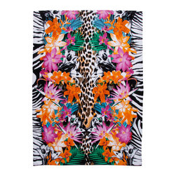 None - Tropical Animal Print Extra Wide Beach Towel - Choose this oversized tropical animal print towel for your relaxing day at the beach or pool. Made of 100-percent cotton,this soft and absorbent towel will keep you comfortable and dry.