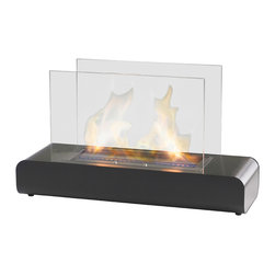Eco-Feu - Blush Ventless Freestanding Ethanol Fireplace - With its modern and simplistic design, The Blush Freestanding Fireplace by Eco-Feu adds a streamlined sophistication to any space. This double-sided fireplace offers an eco-friendly flame that is odorless. Bio Ethanol, an alternative fuel source produced from plants, only emits water vapor and carbon dioxide into the air. Although ethanol fireplaces aren't intended for use as a primary heat source, the Blush model produces approximately 10,200 btu, which will change the noticeable temperature in a room of approximately 680 - 780 square feet. For aesthetic appeal and safety, this fireplace includes two pieces of tempered glass. Appropriate for any space, Blush's curved metalwork is offered in matte black/stainless steel combination.