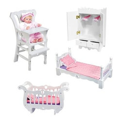 "Melissa and Doug Doll Furniture Set - Well-made and beautifully crafted from wood the Melissa and Doug Doll Furniture Set is sure to delight any child. Including a crib bed armoire and high chair your child will have everything they need to care for their baby's needs. Each piece is painted white and designed to match the other pieces. The two-piece high chair features a removable and locking tray which gives it a realistic look and feel while both the rocking crib and bed comes with their own blanket mattress and pillow so your child's dolls can be properly tucked in at night and nap time. Your child will be able to hang their dolls' clothes and store accessories in the armoire which has magnetic latches two drawers and two upholstered hangers. You're child will spend hours using their imaginations and developing their nurturing side as they carefully take care of their very own babies. Some adult assembly is required and this set is recommended for ages three and up. Each item is able to accommodate a doll up to 20-inches. Additional Features All pieces are crafted from wood Each item accommodates dolls up to 20-inches 2-piece high chair has removable locking tray Doll bed features turned posts and cut out heart details Bed includes a pillow blanket and mattress Hang clothes and store accessories in armoire Armoire has magnetic latches 2 drawers and 2 hangers Crib allows your child to rock their baby to sleep Features heart cut-outs Crib includes pillow blanket and mattress About Melissa & Doug ToysSince 1988 Melissa & Doug have grown into a beloved children's product company. They're known for their quality educational toys and items and have grown in double digits annually. The Melissa & Doug company has been named Vendor of the Year by such great retailers as FAO Schwarz Toys R Us and Learning Express and their toys have been honored as """"Toys of the Year"""" by Child Magazine FamilyFun Magazine and Parenting Magazine. Melissa & Doug - caring quality children's products."