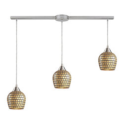 Elk Lighting - Fusion Linear 3-Light Pendant in Satin Nickel and Gold Mosaic Glass - Individuality is what defines this exquisite line of hand blown glass. Each piece is meticulously hand blown with up to three layers of uncompromising beauty and style.