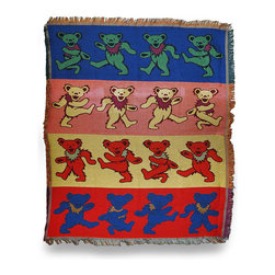 Zeckos - Grateful Dead Dancing Bear Striped Tapestry Throw Blanket 53 In. x 68 - This striped tapestry style woven Grateful Dead blanket is perfect to wrap yourself in warm memories of your favorite band featuring the Dancing Bear design Made of 60% polyester and 40% cotton, it measures 68 inches long by 53 inches wide, and is recommended to machine or hand wash in cold water and air dry . This fringed blanket looks great draped over your couch or favorite chair and is perfect to take to festivals or camping. Buy one for Bertha, or for yourself, and enjoy its warm comfort till the morning comes.
