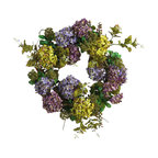 Nearly Natural - 24in. Mixed Hydrangea Wreath - Liven up your home with this lovely multihued hydrangea wreath. A creamy mix of vibrant buds and blooms make this decorative piece a summer sensation. Soft colored pom-pom style flowers surrounded by rich foliage create a look that's subtle yet inviting. A full 24 inches round, this ornamental masterpiece is a nice focal point for a living room wall or display it on your front doorway to welcome guests.