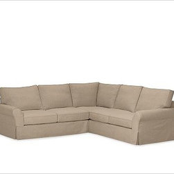 """PB Comfort 3-Piece L Shaped Sectional Slipcovers, Twill Walnut - Designed exclusively for our PB Comfort Sectional, these soft, inviting slipcovers retain their smooth fit and remove easily for cleaning. Left 3-Piece Sectional with Box Cushions shown. Select """"Living Room"""" in our {{link path='http://potterybarn.icovia.com/icovia.aspx' class='popup' width='900' height='700'}}Room Planner{{/link}} to select a configuration that's ideal for your space. This item can also be customized with your choice of over {{link path='pages/popups/fab_leather_popup.html' class='popup' width='720' height='800'}}80 custom fabrics and colors{{/link}}. For details and pricing on custom fabrics, please call us at 1.800.840.3658 or click Live Help. All slipcover fabrics are hand selected for softness, quality and durability. Left-arm configuration is shown; also available in right-arm configuration. {{link path='pages/popups/sectionalsheet.html' class='popup' width='720' height='800'}}Left-arm or right-arm configuration{{/link}} is determined by the location of the arm on the love seat as you face the piece. This is a special-order item and ships directly from the manufacturer. To see fabrics available for Quick Ship and to view our order and return policy, click on the Shipping Info tab above. Watch a video about our exclusive {{link path='/stylehouse/videos/videos/pbq_v36_rel.html?cm_sp=Video_PIP-_-PBQUALITY-_-SUTTER_STREET' class='popup' width='950' height='300'}}North Carolina Furniture Workshop{{/link}}."""