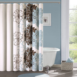Madison Park - Madison Park Farrah Cotton Sateen Shower Curtain - Update your bathroom with this lovely floral cotton shower curtain from Madison Park. The Farrah shower curtain's design uses a soft blue-and-brown palette for a modern look. The 100 percent cotton fabric has a slight sheen to it that catches the eye.