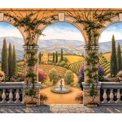 Murals Your Way - Tuscan Villa - Panoramic Wall Art - Through seven stone arches, the rich landscape of Tuscany stretches out before you