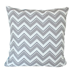The Pillow Studio - Dura Lee Grey Chevron Pillow Cover - I love that this chevron has just a touch more detail than regular chevrons.