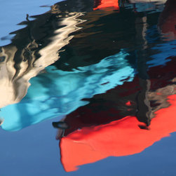 PrintedArt - Kayak reflections - Print is made with archival pigment inks for best color saturation and contrast with a 75-year guarantee against fading or discoloring. Mounted on light-weight but rigid aluminum dibond board to create a float-on-the-wall piece of art. Also available face-mounted with acrylic.
