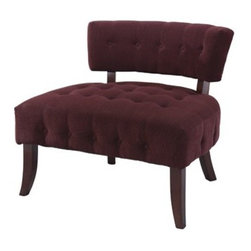 Powell - Lady Slipper Tufted Fabric Slipper Chair - Reminiscent of a boudoir chair, the Lady Slipper chair exudes the feeling of old-time Hollywood glamour. Featuring a tufted low back and tufted plush seat, this piece is upholstered in a velour corduroy. Dark chocolate curved legs finish off this elegant piece. Features: -Velour corduroy.-Dark chocolate curved legs.-Low tufted back and seat.-Exudes the feeling of old-time hollywood glamour.-Upholstered: Yes .-Distressed: No.Dimensions: -Dimensions: 29'' H x 32'' W x 29'' D.-Overall Product Weight: 44 lbs.