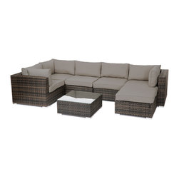 "Reef Rattan - Reef Rattan London 7 Pc Sectional Sofa Set - Chocolate Rattan / Taupe Cushions - Reef Rattan London 7 Pc Sectional Sofa Set - Chocolate Rattan / Taupe Cushions. This patio set is made from all-weather resin wicker and produced to fulfill your needs for high quality. The resin wicker in this patio set won't fade, shrink, lose its strength, or snap. UV resistant and water resistant, this patio set is durable and easy to maintain. A rust-free powder-coated aluminum frame provides strength to withstand years of use. Sunbrella fabrics on patio furniture lends you the sophistication of a five star hotel, right in your outdoor living space, featuring industry leading Sunbrella fabrics. Designed to reflect that ultra-chic look, and with superior resistance to the elements in a variety of climates, the series stands for comfort, class, and constancy. Recreating the poolside high end feel of an upmarket hotel for outdoor living in a residence or commercial space is easy with this patio furniture. After all, you want a set of patio furniture that's going to look great, and do so for the long-term. The canvas-like fabrics which are designed by Sunbrella utilize the latest synthetic fiber technology are engineered to resist stains and UV fading. This is patio furniture that is made to endure, along with the classic look they represent. When you're creating a comfortable and stylish outdoor room, you're looking for the best quality at a price that makes sense. Resin wicker looks like natural wicker but is made of synthetic polyethylene fiber. Resin wicker is durable & easy to maintain and resistant against the elements. UV Resistant Wicker. Welded aluminum frame is nearly in-destructible and rust free. Stain resistant sunbrella cushions are double-stitched for strength and are fully machine washable. Removable covers made with commercial grade zippers. Tables include tempered glass top. 5 year warranty on this product. PLEASE NOTE: Throw pillows are NOT included. Corner Chairs (3): W 33.5"" D 34"" H 26"", Center Chairs (2): W 27.5"" D 34"" H 26"", Ottoman with Cushion: W 26"" 26"" 12"", Coffee Table: W 26"" D 26"" H 12"""