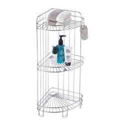 3 Shelf Corner Caddy - The 3 Shelf Corner Caddy is great for any bathroom that needs a little organizing. You can store all of your bathroom essentials on this unit's three metal wire shelves with rails -- from hand towels to lotions and gels to styling products. It stores unassumingly in any corner of your bathroom for a modern organized look. It features a lightweight durable metal frame with a chrome finish. Dimensions: 11.5W x 9D x 24H inches.About Organize It AllOrganize It All offers a great selection of storage solutions and organization furniture for the home. Created with masterful designs and constructed with top quality materials the company is dedicated to providing convenient and great looking storage solutions for every room in the home.Organize It All was established in 1986 with a mission to empower people to organize their lives. It is the company's belief that in a well-organized environment life is more enjoyable. The company's product line includes over 500 products designed for everyday use in the home and consists of several categories of practical items for home storage and organization. From kitchen to office bath to closet Organize It All offers an affordable solution for all storage needs. The company maintains warehouses in Saddle Brook New Jersey and Costa Mesa California.