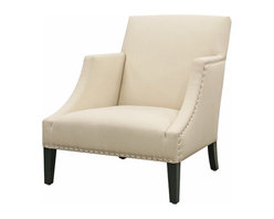 Baxton Studio - Baxton Studio Heddery Cream Fabric Modern Club Chair - Short and stout but refined and comfortable, the Heddery Club Chair is a casual choice for a living room, entryway, or waiting area.  This accent chair is made with a solid wood frame, foam cushions, black legs, and cream linen upholstery.  Completing the look are high armrests and silver nail head tacks along the sides and front.  The chair is fully assembled.
