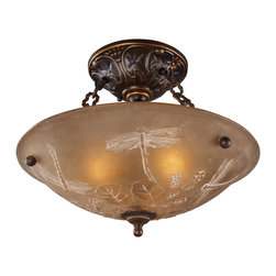 Elk Lighting - EL-08096-AGB Restoration 3-Light Semi-Flush in Golden Bronze - A grouping of ceiling lighting developed with a discriminating concern for preserving historic lighting and architectural designs. This offering of expert restoration and replication fixtures is offered in a wide variety of styles and sizes.