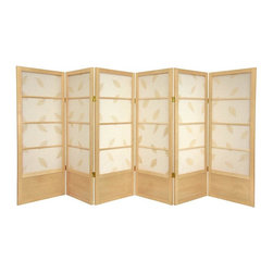 Oriental Furniture - 4 ft. Tall Low Botanic Shoji - 6 Panel - Natural - The low height is perfect for hiding unsightly areas, fireplaces, kid's play areas, or simply for adding a new design element to your space. The embedded leaves add an earthy feel to this decorative room divider.