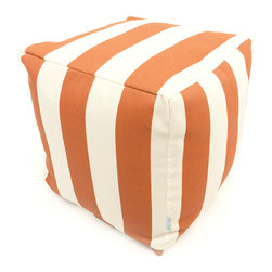 Majestic Home - Outdoor Burnt Orange Vertical Stripe Small Cube - Add style and color to your living room or outdoor seating arrangement with Majestic Home Goods Small Cube Ottoman. This cube is perfect for use as a footstool, side table or as extra seating for guests. Woven from outdoor treated polyester, these cubes have up to 1000 hours of U.V. protection and are able to withstand all of natures elements. The beanbag inserts are eco-friendly by using up to 50% recycled polystyrene beads, and the removable zippered slipcovers are conveniently machine-washable.