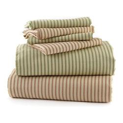 Traditions by Pamela Kline - Traditions Linens Ticking 220 Thread Count Egyptian Cotton Sheet Set - 382017800 - Shop for Sheets from Hayneedle.com! The Traditions Linens Ticking 220 Thread Count Egyptian Cotton Sheet Set has a simple casual look that never goes out of style. Available in twin full queen and king sizes this super-soft and cozy 220-thread count sheet set is made from comfortable 100% Egyptian cotton fabric. Machine washable for easy maintenance this striped sheet set comes in a soothing shade of sage green. It includes a fitted sheet flat sheet and coordinating pillowcases. The twin set comes with one standard pillowcase. Full and queen sets include two standard pillowcases and the king set features two king pillowcases.About Traditions LinensBased in Claverack N.Y. Traditions Linens is a family business that has been a leader in the world of home textiles bed linen design and manufacturing for more than 35 years. Drawing inspiration from her background in antiques the beauty of the Hudson Valley and her frequent travels Pamela Kline creates fine bedding collections that layer texture color and pattern in all-natural fibers and with meticulous attention to detail. The company's product line includes blankets sheet sets quilts towels window treatments duvet covers decorative pillows and more. Their products can be found in specialty boutiques home furnishing stores catalogs and online retailers in the United States Canada Europe South America and Asia.