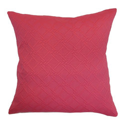 """The Pillow Collection - Rafai Plain Pillow Pink 18"""" x 18"""" - Pretty and bold, this throw pillow will surely bring a positive vibe to your room. This square pillow features a textured design which offers dimension and style. This accent pillow combines well with patterns, but it certainly looks gorgeous on its own. Decorate this 18"""" pillow on top of your bed, sofa or seat. This decor pillow is made from 100% high-quality cotton material. Hidden zipper closure for easy cover removal.  Knife edge finish on all four sides.  Reversible pillow with the same fabric on the back side.  Spot cleaning suggested."""
