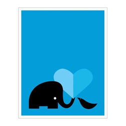"""Hybrid-Home - """"Elephant Loves Bird"""" Limited Edition Print - No one can doubt this pachyderm-avian love when it's brilliantly emblazoned in blue on your wall. You'll cherish this silkscreened symbol of affection, designed by Heather Amuny-Dey. Have a heart!"""