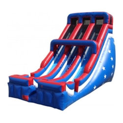 Kidwise - Kidwise 24 ft. Double Lane Inflatable Slide - Patriotic - KE-SL3161 - Shop for Tents and Playhouses from Hayneedle.com! Give your next event a blast of fun with the Kidwise 24 ft. Double Lane Inflatable Slide - Patriotic. This dual slide attraction features a red white and blue theme and is the perfect addition to 4th of July gatherings birthday parties church functions fairs festivals or block parties. It s made of durable 18-ounce colorful PVC vinyl and features safety netting and curved stop walls. It also comes complete with blower repair kit stakes tarp and even a blank banner for advertising. All slides come with replaceable high-density foam steps and replaceable slide blankets.About Kidwise ProductsThis item is made by Kidwise Outdoors a company whose focus is safe fun excitement for kids. Kidwise strives to promote safe play for kids of all ages through outside activities. Their line of products includes swing sets trampolines inflatable bouncers bikes sport goals and many other items to choose from. Kidwise guarantees all of their products against defects. Like Hayneedle their goal is 100% satisfaction from customers. Their product lines focus on kid-friendly items that are fun to play with and stimulate balance and a healthy lifestyle for kids.