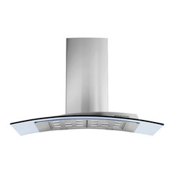 "36"" Acqualina Glass - Island Range Hood - Designer Italian range hood with sleek modern shape, polished stainless steel & clear tempered glass. Powerful 940-CFM blower, halogen lighting, electronic controls, dishwasher-safe filters. Other versions & sizes available - visit www.futurofuturo.com for more info, or call 1-800-230-3565."