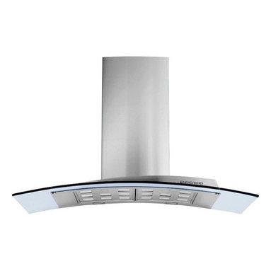 """36"""" Acqualina Glass - Island Range Hood - Designer Italian range hood with sleek modern shape, polished stainless steel & clear tempered glass. Powerful 940-CFM blower, halogen lighting, electronic controls, dishwasher-safe filters. Other versions & sizes available - visit www.futurofuturo.com for more info, or call 1-800-230-3565."""