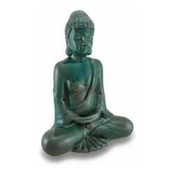 Zeckos - Tranquil Meditating Buddha Indoor/Outdoor Green Crackled Finish Ceramic Statue - Buddha, on whose teachings Buddhism was founded, was a profoundly wise person from India. The word 'Buddha' means 'awakened one' or the 'enlightened one'. This ceramic statue depicts a peaceful, meditating Buddha in a glossy green crackled finish glaze that measures 15 inches high, 11 inches long, 6.5 inches wide (38 X 28 X 17 cm) and is suitable for indoor or outdoor use. This piece makes a wonderful housewarming gift, and is sure to bring a feeling of peace and serenity to all that view it.