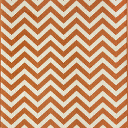 """Baja BAJ-9 Orange Rug - 8'6""""x13' - Bold and exciting colors patterns allow trend-conscious customers to create their ultimate indoor/outdoor oasis. Baja thrives on simple graphic patterns with a refreshing twist of runway fashion and lively color palettes. Machine-made in Egypt of 100% polypropylene and approved for use outdoors."""