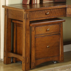 Riverside Furniture - Craftsman Home Mobile File Cabinet - Top storage drawer. Bottom file drawer accepts letter size files only. File and storage drawer have dovetail construction and ball bearing extension guides. Equipped with casters for convenient mobility. Never roll casters on unprotected hardwood or vinyl flooring. Constructed of hardwood solid and Oak veneer. Finish: Americana Oak. Distress Level: Light. No assembly required. 18.75 in. W x 19.5 in. D x 23 in. H ( 67 lbs. )