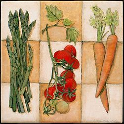 "Tile Art Gallery - Fresh Veggies I - Ceramic Accent Tile, 12 in - This is a beautiful sublimation printed ceramic tile entitled ""Fresh Veggies I"" by artist Charlene Olson. The printed tile displays a vegetable medley. Pricing starts at just $14.95 for a 4.25 inch tile."